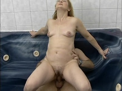 Chubby blonde fucks in Jacuzzi