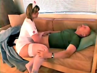 Chubby blonde nurse in rounds