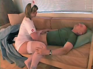 Chubby nurse helps sex addict