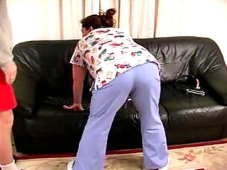 Nasty nurse enjoying spanking