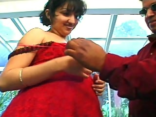 Preggo whore in red night gown