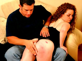Husband spanking his lazy wife